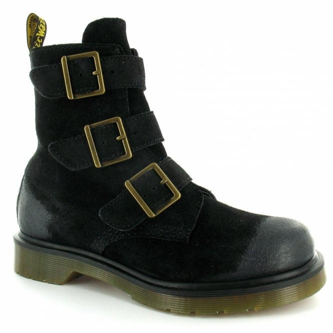 bc0e953e1c92 Dr Martens Blake Womens Suede Leather 3-Buckle Ankle Boots - Black ...