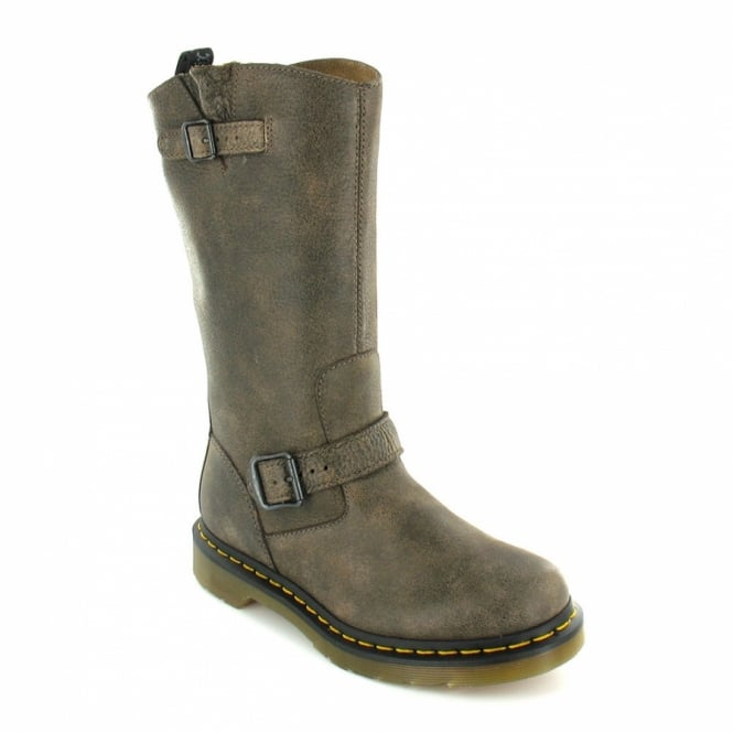 Dr Martens Case Womens Distressed Leather Mid-Calf Engineer Boots - Grey