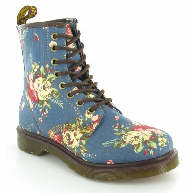 Dr Martens Castel Victorian Flowers Womens 8-Eyelet Ankle Boots - Indigo  Denim Blue Floral 71034b9045a7
