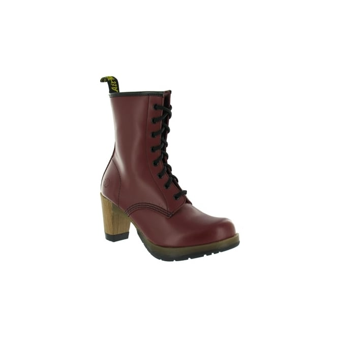 dr martens darcie womens leather boots cherry high heels