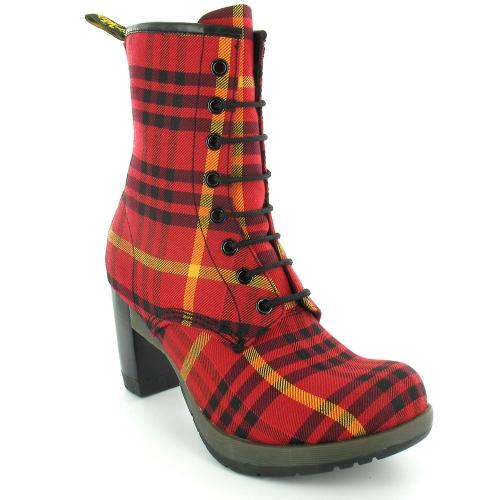 Dr martens darcie womens mcmartens tartan 8 eyelet lace up heeled ankle boots red black - Dr martens diva ...