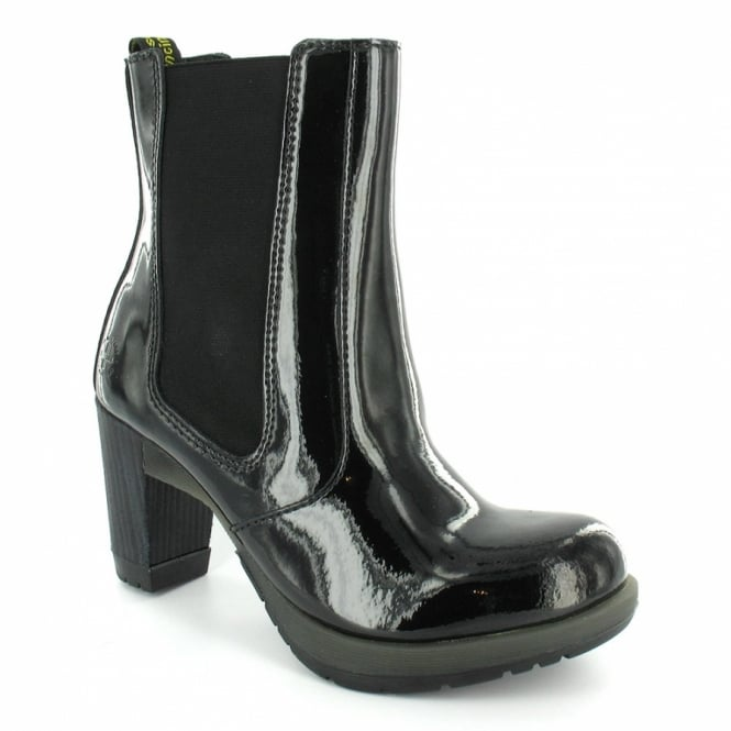 391755f51ab Dr Martens Darla Womens Patent Chelsea Heeled Ankle Boots - Black ...