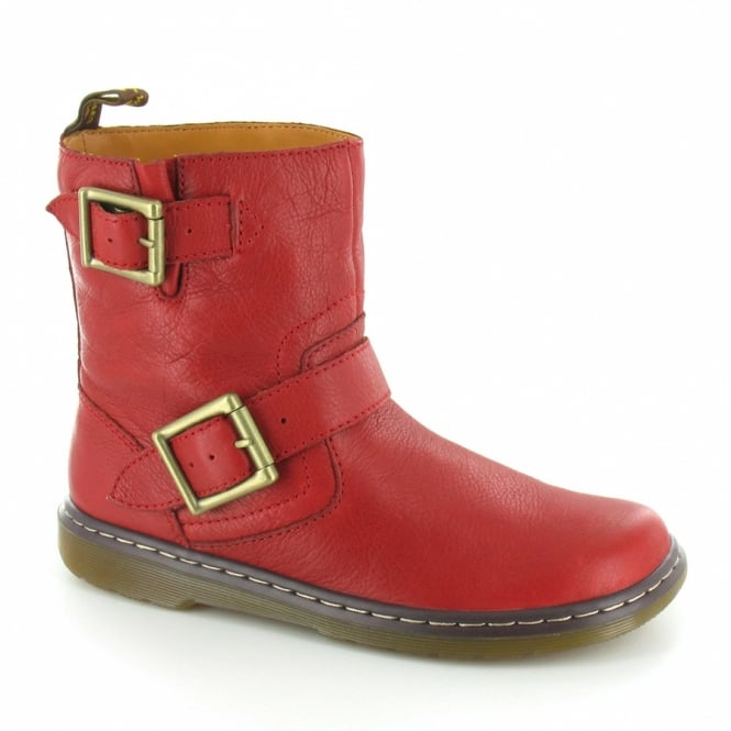 Dr Martens Elate Gayle Womens Leather Biker Chukka Boot - Bright Red ... 29bd9ff331