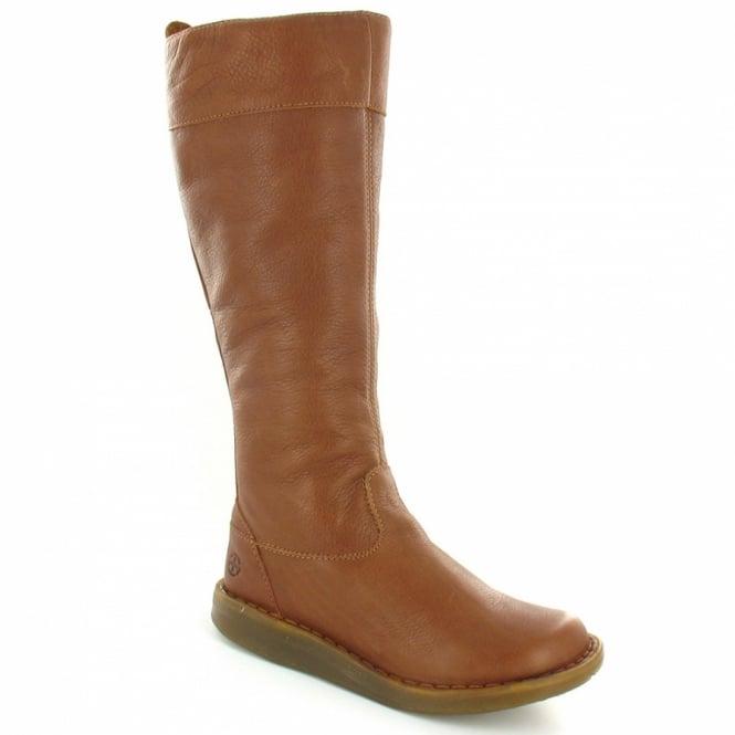 b5577f65fd8 Dr Martens Elena Womens Full-Grain Leather Flat Knee-High Zip Boots - Tan