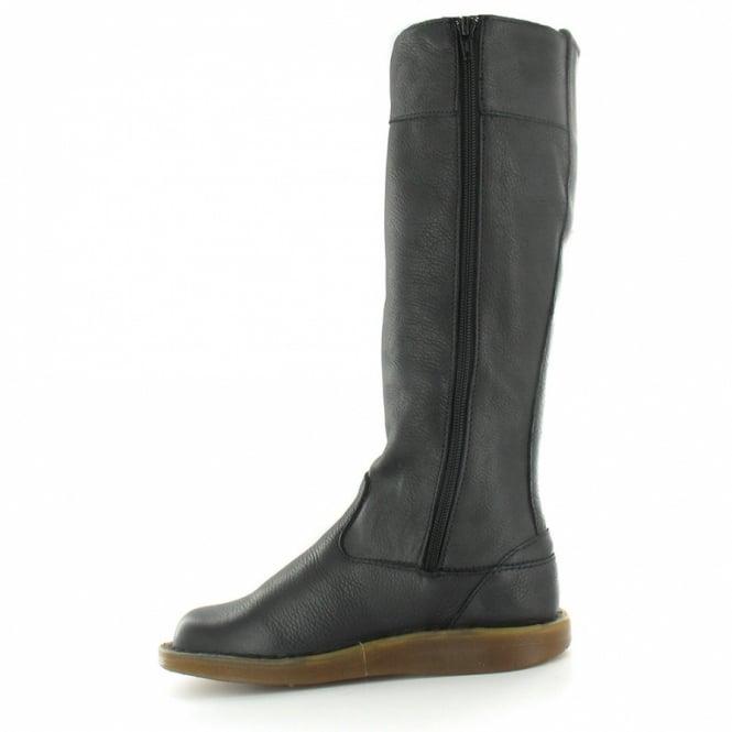 40db2d4c57f Elena Womens Leather Knee High Zip Flat Boots - Black