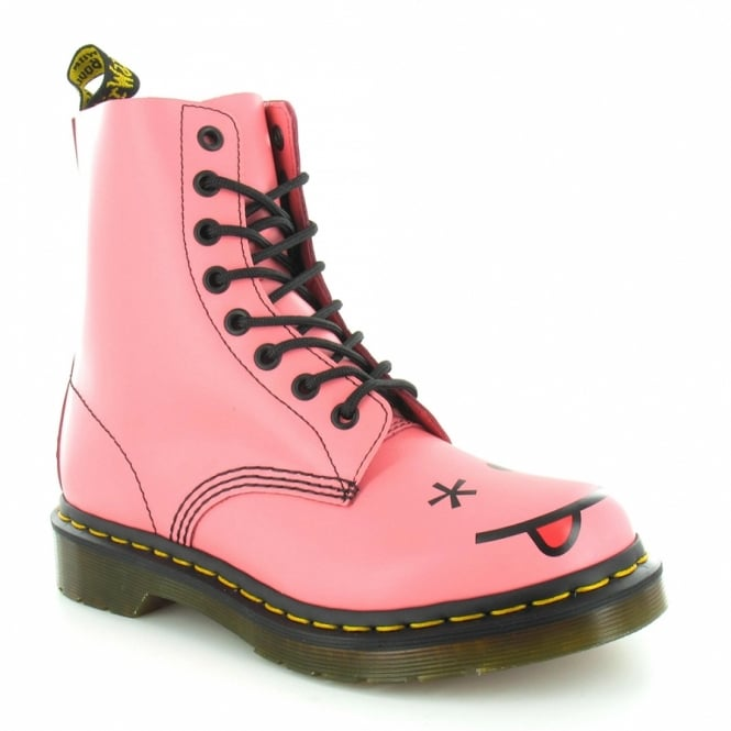 Dr Martens Hincky Womens Leather Smiley 8-Eyelet Boots - Acid Pink