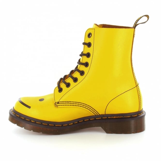 f2fd84c91 Dr Martens Hincky Womens Leather Smiley 8-Eyelet Boots in Yellow at ...