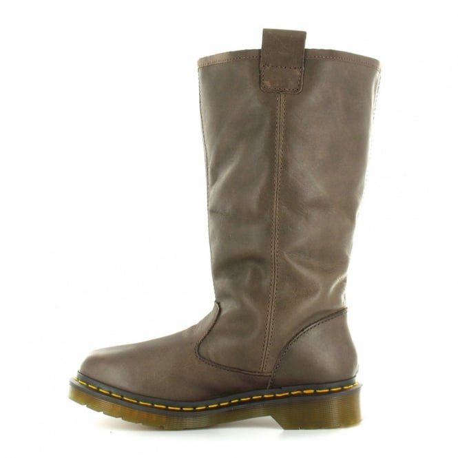 Jenny Womens Leather Pull On Mid Calf Boots Dark Brown