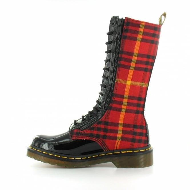 f11943a4248 Lorna Womens McMarten Tartan Zipped Midcalf Boots - Black + Red