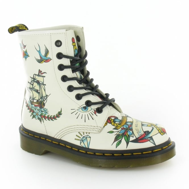 Louie Womens Leather Tattoo Print 8 Eyelet Boots Winter White