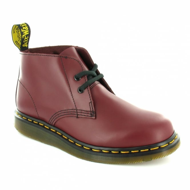Dr Martens Manton Mens Leather 2-Eyelet Ankle Boots - Cherry Red