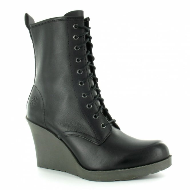 Dr Martens Marcie Womens Leather 10 Eyelet Wedge Heel Boots Black