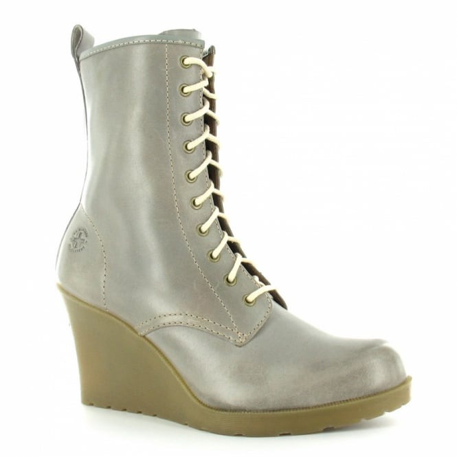 Dr Martens Marcie Womens Leather 10-Eyelet Wedge Heel Boots - Grey 36841606b8