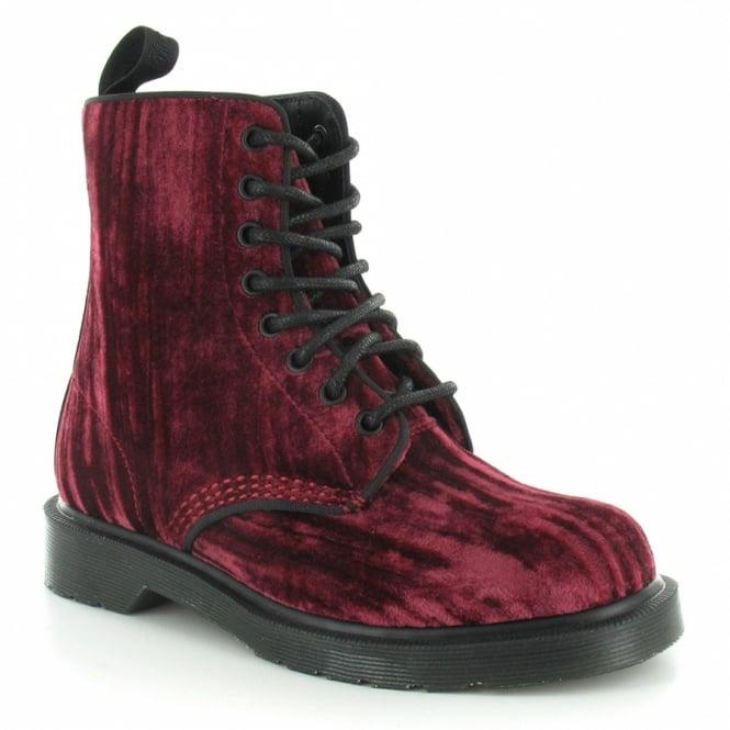 bbfc4153fb794 Dr Martens Marvel Crushed Velvet Womens 8-Eyelet Ankle Boots - Cherry Red