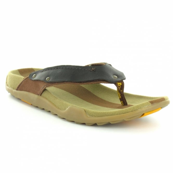 Milkweed Mens Leather and Canvas Toe Post Sandals Dark Brown + Tan Brown