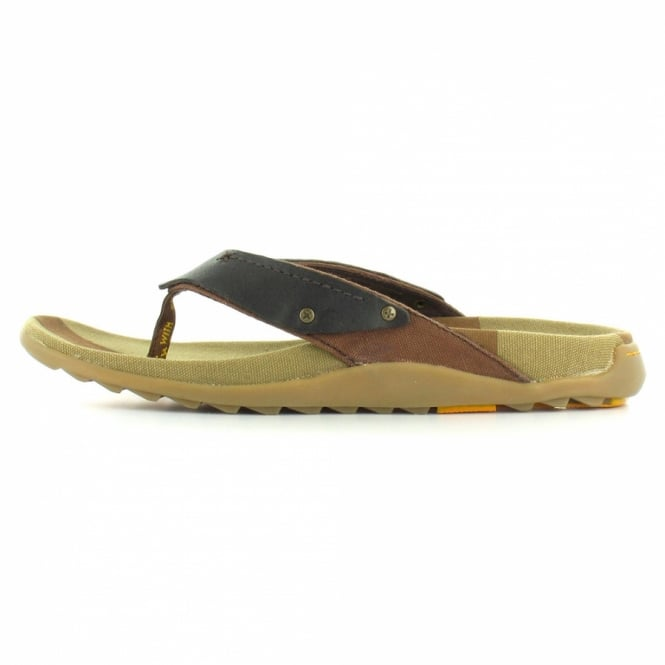 Dr Martens Dr Martens Milkweed Mens Leather and Canvas Toe Post Sandals Dark Brown + Tan Brown