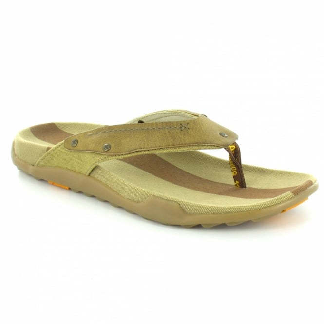 Milkweed Mens Leather and Canvas Toe Post Sandals Khaki Brown