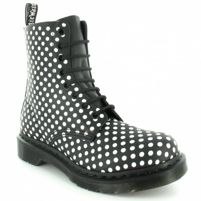 186325e37156 Dr Martens Pascal Womens Soft Leather 8-Eyelet Dot Flock Ankle Boots - Black  +