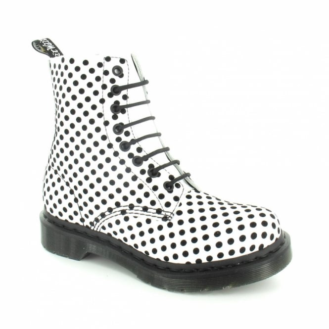 8a5eab70c457 Dr Martens Pascal Womens Soft Leather 8-Eyelet Dot Flock Ankle Boots - White  +