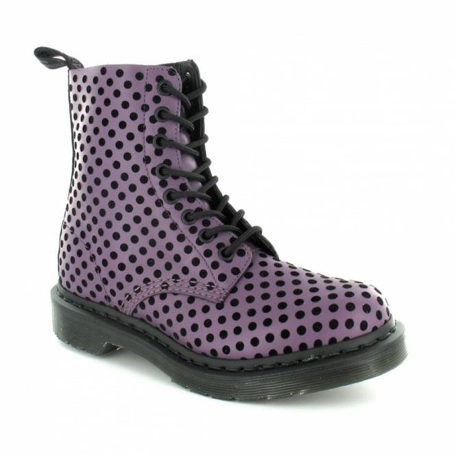 de6a14f4d81d Dr Martens Pascal Womens Soft Leather 8-Eyelet Dot Flock Ankle Boots -  Purple +