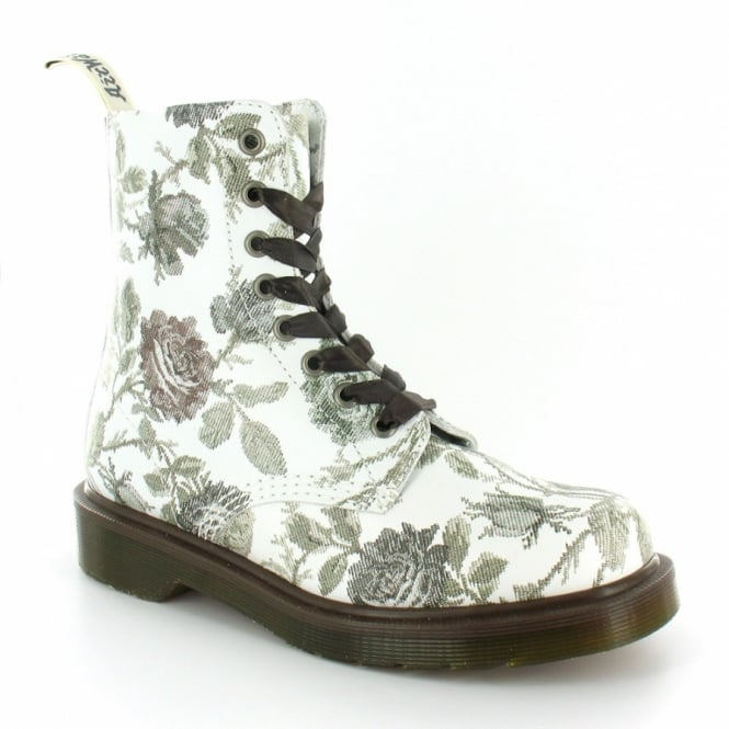 887a1f04e069a Dr Martens Pascal Womens Tapestry Print Leather 8-Eyelet Boots - Grey and  White