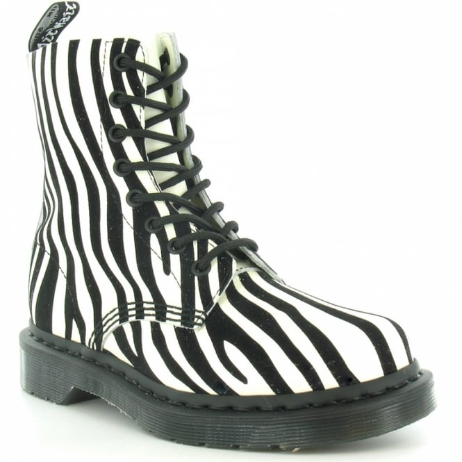 7d3fe2da5db0 Dr Martens Pascal Womens Zebra Print Leather 8-Eyelet Boots - Winter White  + Black
