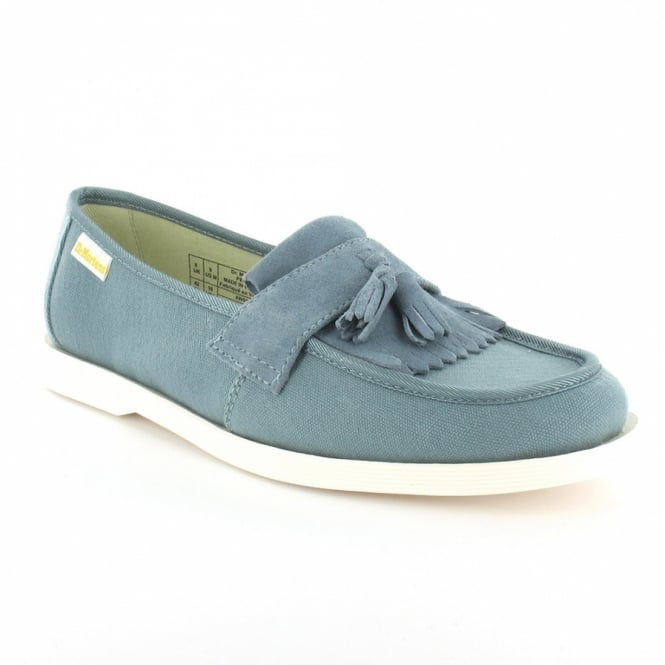 607cbadbce1 Dr Martens Perth Mens Canvas and Suede Leather Tassel Loafer Shoes - Faded  Denim Blue
