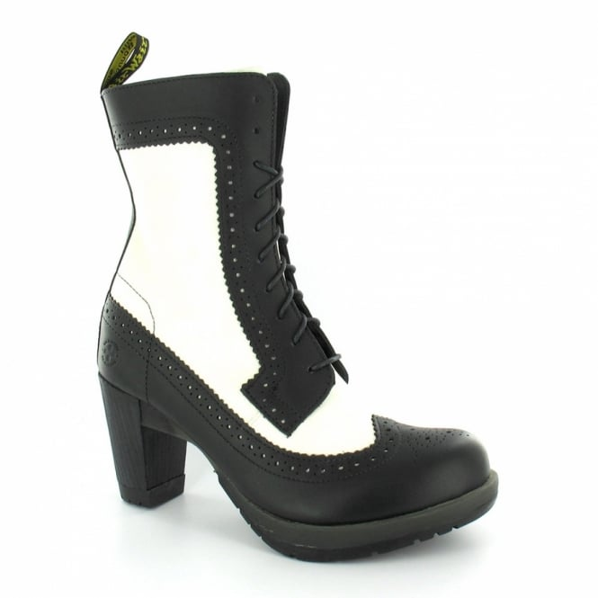 6902afe86fc97a Dr Martens Regina Womens Brogue Leather Heeled Ankle Boots - Black + Winter  White