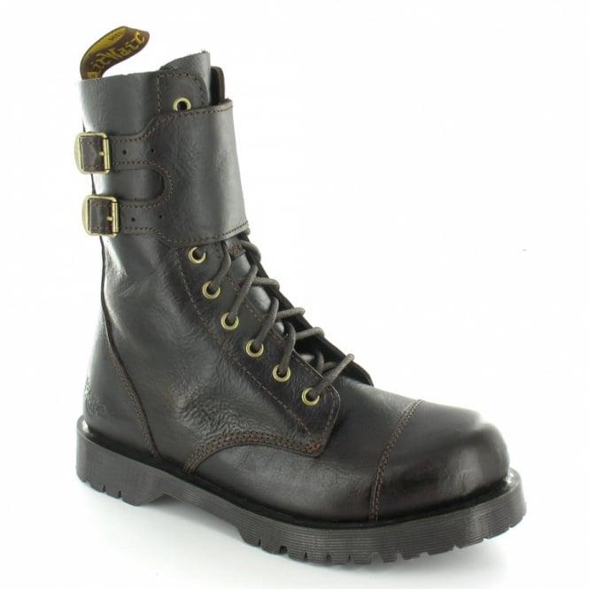 f07125b651b9a Dr Martens Samuel Mens Leather 10-Eyelet Buckle Paratrooper Boots - Dark  Brown