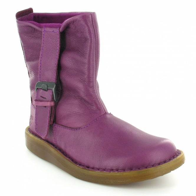 super popular 89829 e46fd Tana Womens Leather Flat Slouch Pull-Up Ankle Boots - Grape Purple