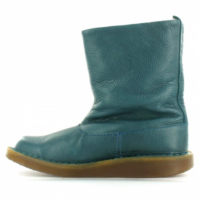 best sneakers c2d92 910f0 Tana Womens Leather Flat Slouch Ankle Boots - Peacock Green