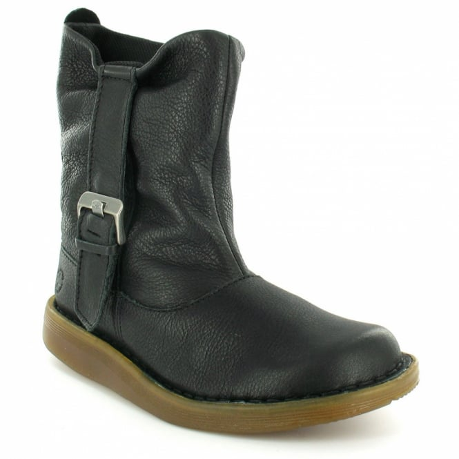meet a726c 84c5a Tana Womens Leather Flat Slouch Ankle Boots - Black