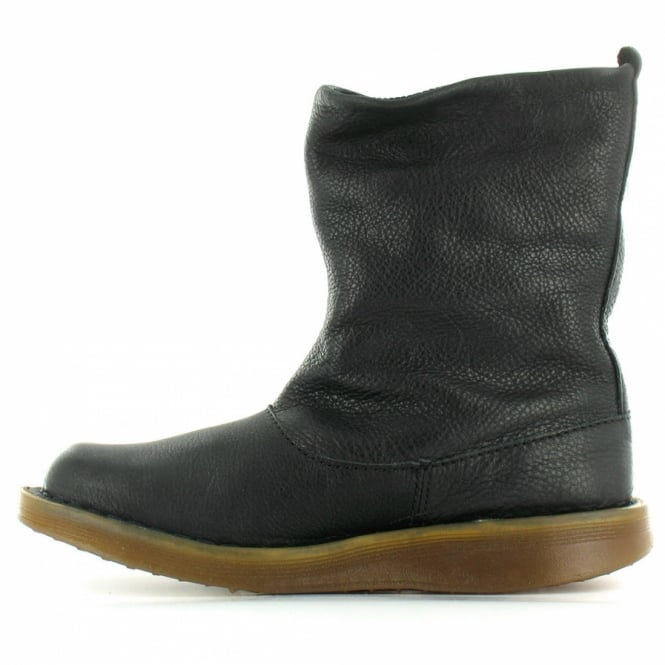 Martens Tana Womens Leather Flat Slouch Ankle Boots - Black