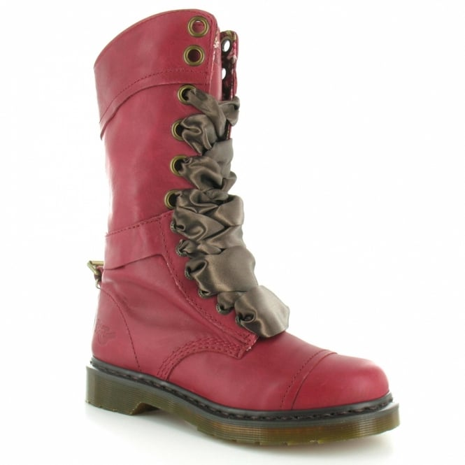 c9ec39614d34 Dr Martens Triumph 1914 Womens Leather Fold Over Mid-Calf Lace-Up Boots -