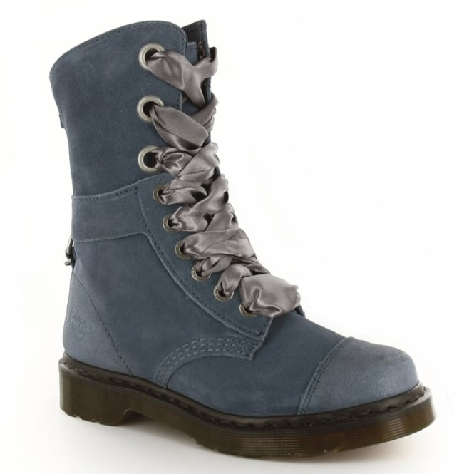 3c2cb8e60f4f Dr Martens Triumph Aimee Womens Suede Leather Low-Calf Lace-Up Boots - Denim