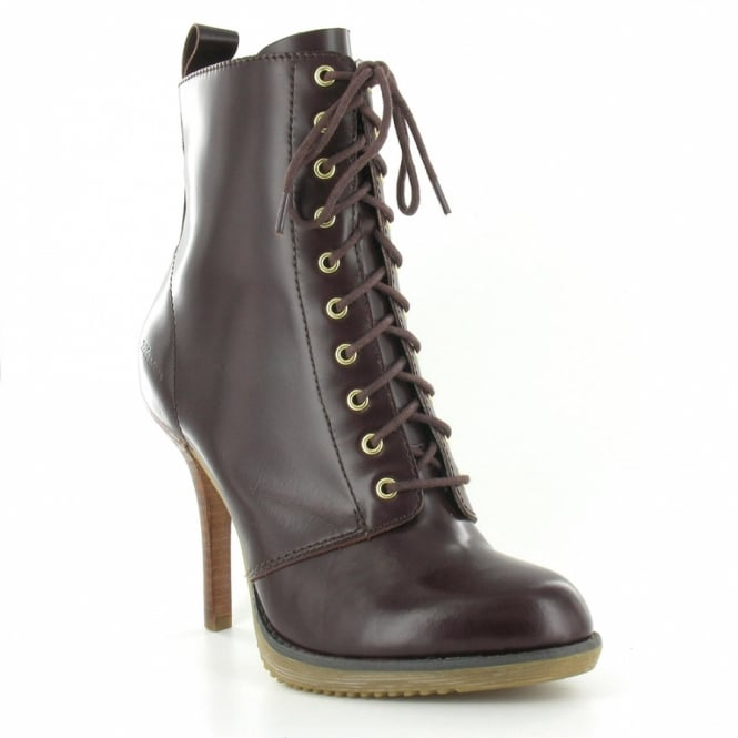 93143de1817 Dr Martens Zita Kimora Womens Leather 10-Eyelet Lace-Up Side Zip Stiletto  Heel Ankle Boot - Oxblood Brown