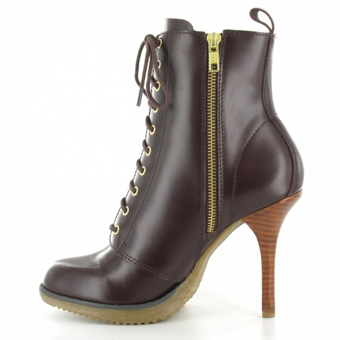 dd74ef445cf Dr Martens Zita Kimora Womens Leather 10-Eyelet Lace-Up Side Zip Stiletto  Heel Ankle Boot - Oxblood Brown