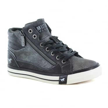 Mustang 1146-516-259 Womens Faux Leather Hi-Top Fashion Trainers - Graphite Grey