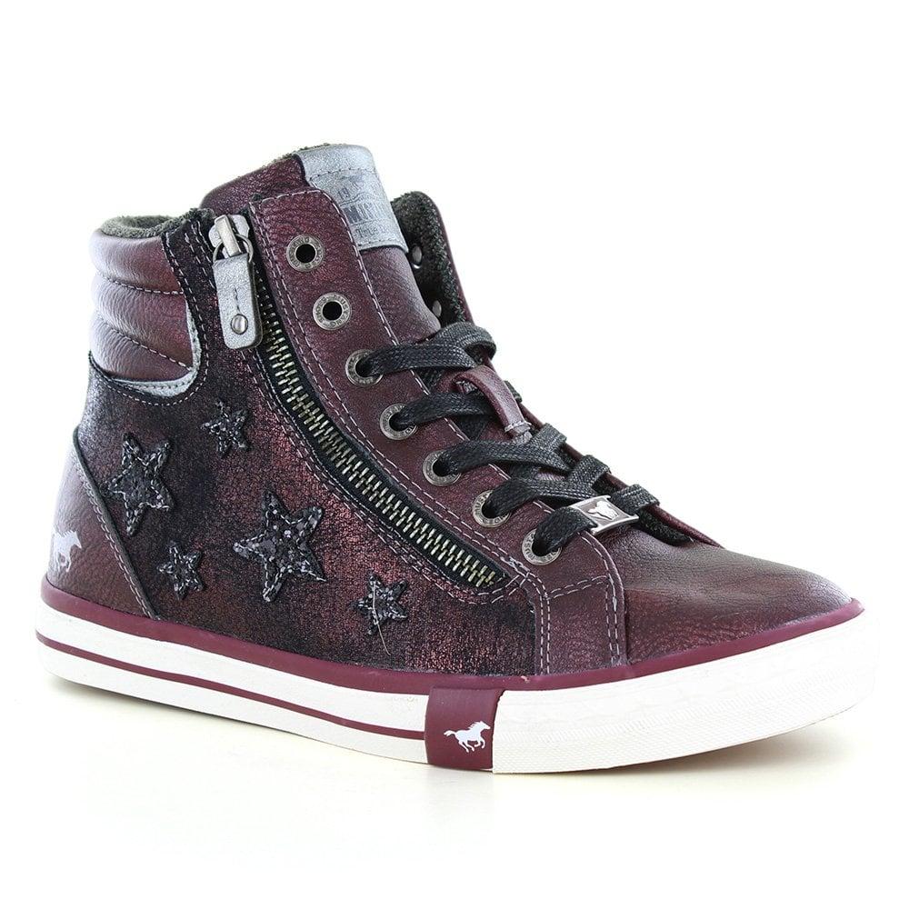 wholesale dealer 6ce98 677d0 1146-525-55 Womens Hi-Top Faux Leather Fashion Trainers - Bordeaux Red