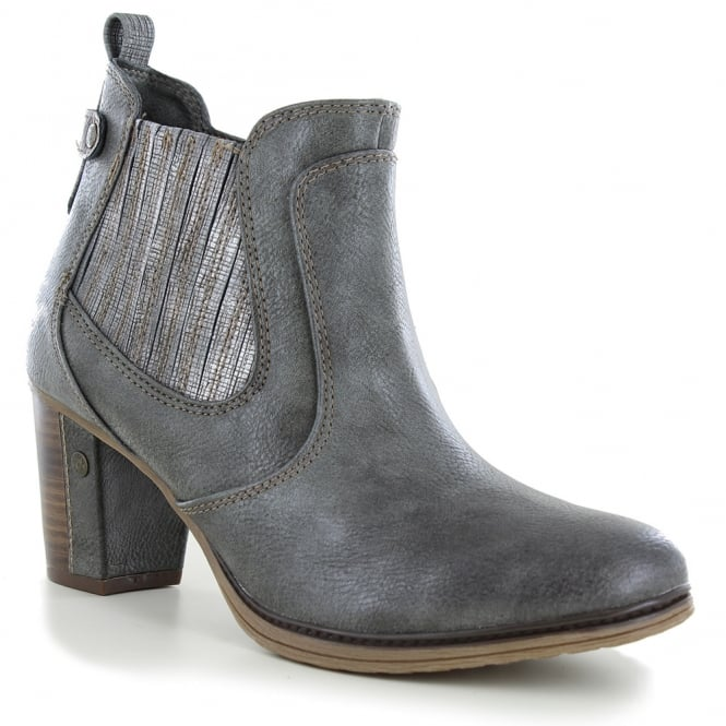 Mustang 1199-501-20 Womens Side Zip Ankle Boots - Dark Grey