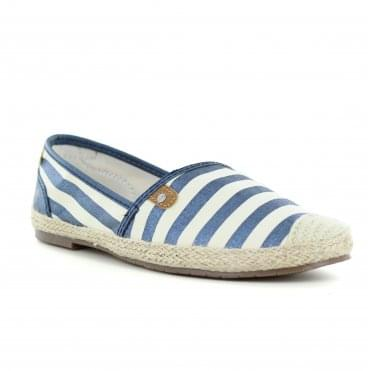 Mustang 1266-207-800 Womens Slip On Shoes - Dark Blue Strips