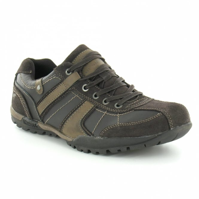 Mustang 4060-302-32 Mens Leather Trainers in Brown at Scorpio Shoes 965ba95f5