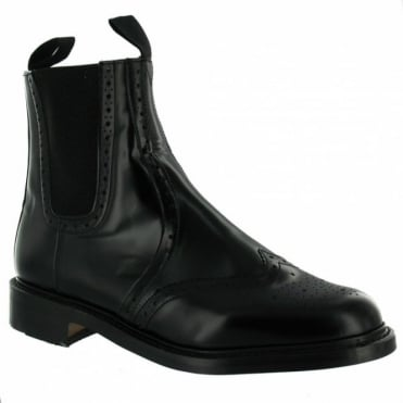 N.P.S LS310BK Mens Leather Dealer Chelsea Boots - Black