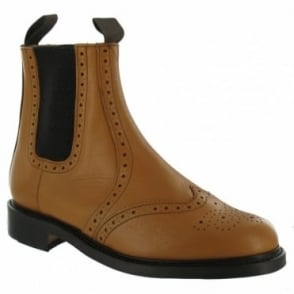 N.P.S LS310T Mens Leather Dealer Chelsea Boots - Tan
