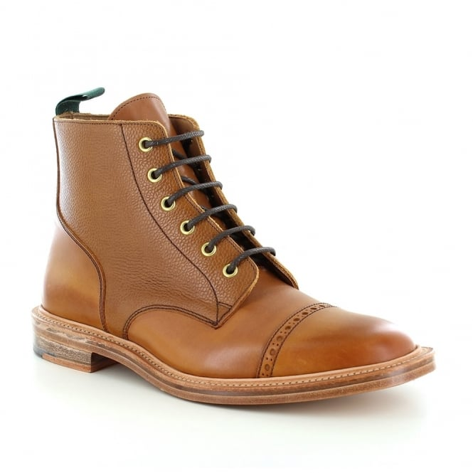 NPS Heritage 477-000 Mens Made in Britain Leather 6-Eyelet Derby Boots - Mahogany Brown