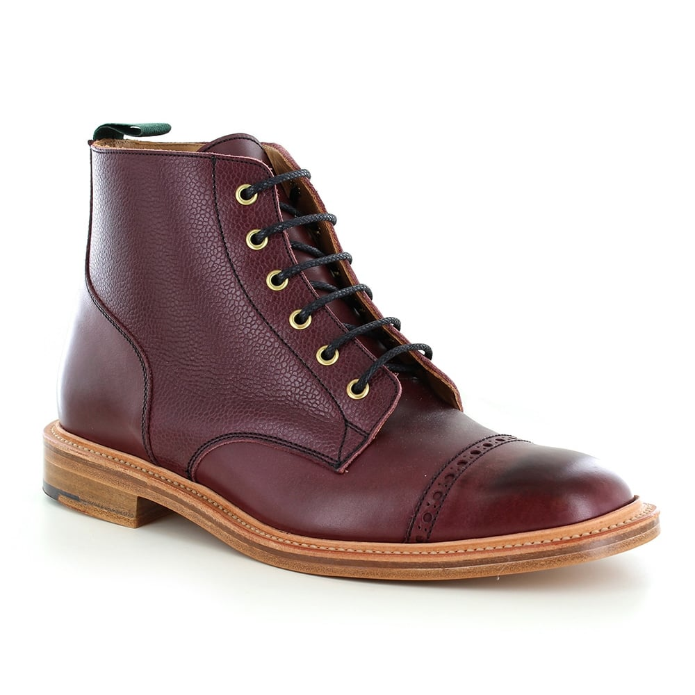 NPS 477-000 Mens Made in Britain Leather Derby Boots in Burgundy Red