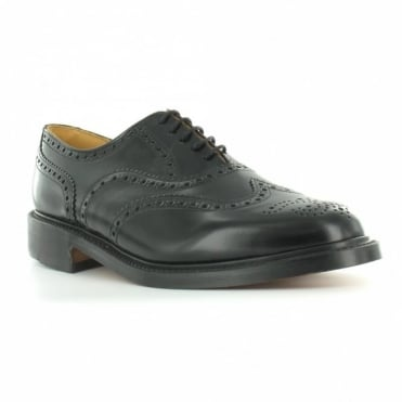 NPS LS811T Mens Leather 5-Eyelet Traditional Wing Tip Country Brogue Shoes - Black