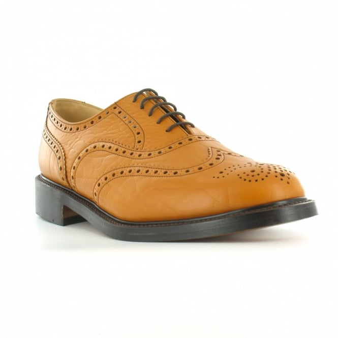 NPS LS811T Mens Leather 5-Eyelet Traditional Wing Tip Country Brogue Shoes - Mustard Tan Brown