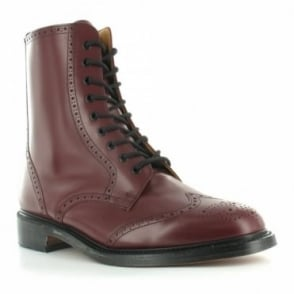 NPS LS910 Mens Leather 9-Eyelet Traditional  Country Brogue Stable Boots - Oxblood