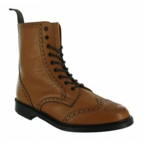 N.P.S LS910 Mens Leather Brogue Hand Made Boots - Tan